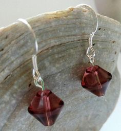 Purple Glass Bead Drop Earrings with Sterling Silver Hooks