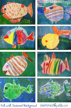 Fish collage art project  1. Paint background  2. Draw creature, cut out and add to background  3. Add decorations