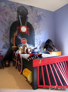 Train coming out of a tunnel., little boy room..