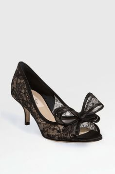 Lace couture bow pump by Valentino, $895. make it ivory or cream. maybe 1- 1.5 inches higher and its perfect