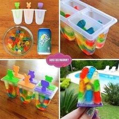 DIY Sprite Gummy Bear Popsicles