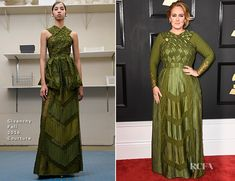 Adele:  Wore a long-sleeved, embellished olive green Givenchy gown from the Fall 2016 Couture collection. Signature dramatic makeup and a softly upswept chignon completed her Grammy look | The 59th GRAMMY Awards, STAPLES Center, Los Angeles, CA  12 Feb 2017