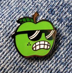 Hard Enamel Lapel Pin Apple by Bubnis on Etsy https://www.etsy.com/ca/listing/253606724/hard-enamel-lapel-pin-apple