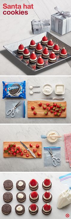 Let's give the world's most famous cookie a jolly makeover. Mix cream cheese, sugar and whipped topping together and spoon it into a Ziploc brand bag. Cut off a tiny corner of the bag. Pipe most of the sweet stuff onto the tops of your Oreo cookies, then add a fresh strawberry. Complete the look by piping one more dollop on the tip of each berry. Ho, ho, holy Claus that's cute.