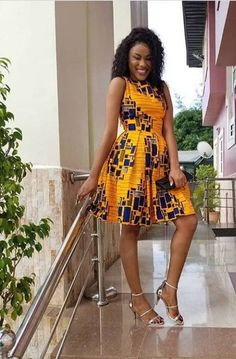 african print dresses This beautiful African midi dress is handmade with Ankara fabric. *The bodice is lined *It well pleated *It has a zipper at the back Please allow Short African Dresses, Ankara Short Gown Styles, Short Gowns, Ankara Gowns, Latest African Fashion Dresses, Ankara Dress, Ankara Fabric, Modern African Fashion, Ankara Fashion