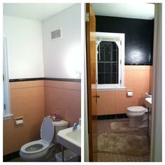 my peach and black vintage bathroom before after