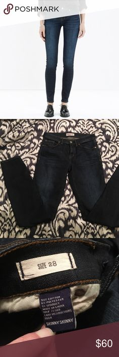 "NWOT Madewell skinny skinny jeans Never worn, too big for me - not so much in the waist but in the legs they are too big to look like skinny jeans on me. Waist 14.5"" flat, inseam 32"". Sorry, there is no style number and I don't know the exact wash, but they're overall pretty dark with a few lightened accents Madewell Jeans Skinny"