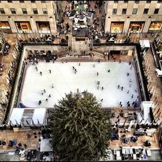 rockafeller center tree + ice skating rink -want to go here at christmas someday...