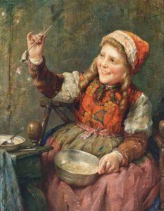 """Edward Antoon Portielje (Belgian, 1861-1949), """"Blowing Bubbles"""" by sofi01, via Flickr"""