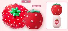 strawberry shower cap and sponge