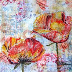 Yellow poppies - an original mixed media painting 40 x 40 cms.  Kitty van der Heuvel