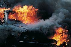 Burning 4-door Comet.