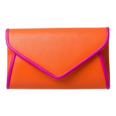 Hayley Piped Clutch (49 BRL) ❤ liked on Polyvore featuring bags, handbags, clutches, orange purse, orange clutches and orange handbags