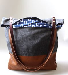 Charcoal Gray Leather Blocked Tote / Rouge and Whimsy