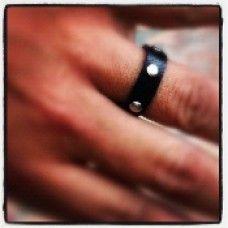 Men's Leather Rivet Ring