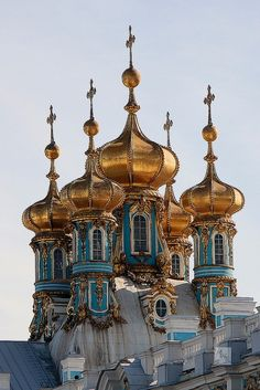 Domes of Catherine Palace, Pushkin, Russia.