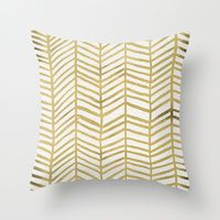 Throw Pillows featuring Gold Herringbone by Cat Coquillette