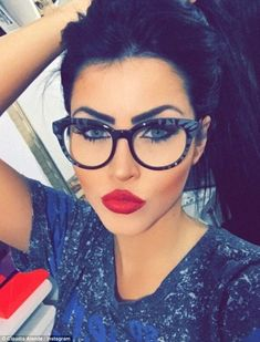 Bold makeup + glasses