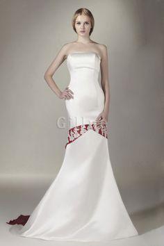 Natürliche Taille Mitte Rücken Satin Karree Bodenlanges Brautkleid