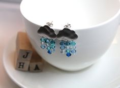 Small clouds of rain earrings  Blues by JigulinsHA on Etsy