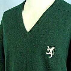 John Morrison Scotland Made 100% Lambswool Lion Crest Green VNeck Sweater Mens M…