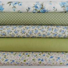Bundle 5 fat quarters shabby chic green & blue floral selection100% cotton   eBay