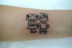 Resultado de imagem para tatuagem menino e menina palito tattoos тату e иде Mommy Tattoos, Tattoos For Kids, Tattoos For Daughters, Sister Tattoos, Wolf Tattoos, Tattoos For Women Small, Leg Tattoos, Small Tattoos, Tattos