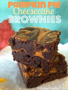 Pumpkin Pie Cheesecake Brownies by Posed Perfection #pumpkin #falldesserts