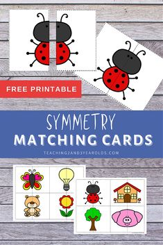 These symmetry puzzle printables are a fun way for preschoolers to work on balance! #preschool #symmetry #balance #matching #cards #printable #3yearolds #teaching2and3yearolds Preschool Learning Activities, Toddler Preschool, Printable Cards, Printables, Time Planner, Matching Cards, Fun Math, Early Learning, Small Groups