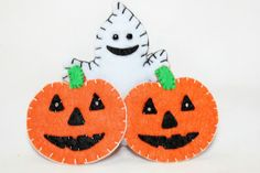Halloween and Fall Felt Ghost and Pumpkin by CollageCollectibles
