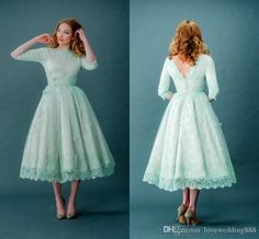 2015 Vintage Lace Prom Dresses Bateau Neck Half Sleeves Mint Green Tea Length Spring Plus Size Backless Wedding Party Dresses With Sleeves Online with $83.57/Piece on Lovewedding888's Store | DHgate.com