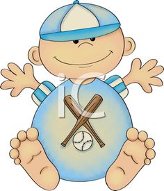 Royalty Free Clipart Image of a Baby Boy in a Ball Uniform