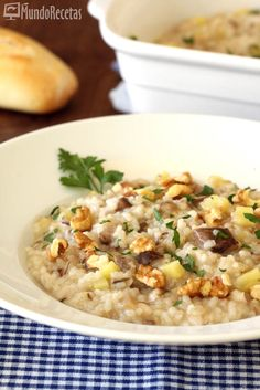 Risotto de setas y manzana en Thermomix Recipies, Soup, Rice, Meals, Ethnic Recipes, Pasta, Risotto, Mushroom Risotto, Yummy Recipes