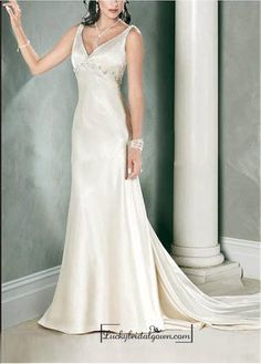 Beautiful Elegant Stretch Satin Sleeveless Beaded Wedding Dress In Great Handwork
