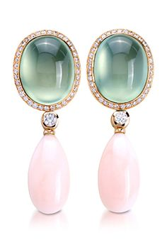 Padani -- 18K yellow gold earrings with peridot, coral, and diamonds