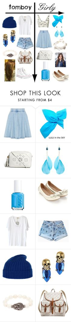 """""""Tomboy vs. Girly: Blue & White"""" by mustachiopistachio ❤ liked on Polyvore featuring Topshop, Bernardo, ASOS, Accessorize, American Vintage, Ballantyne, Iosselliani, Rask, MICHAEL Michael Kors and Converse"""