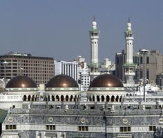 MECCA, SAUDI ARABIA: A view of the minarets and domes of The Grand Mosque.