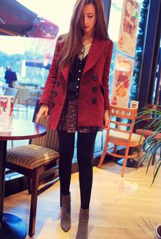 Cute winter outfit: Cute army double button shorts, thick tights, combat boots. Other items such as coat, shirt and jewelry can be more girly to look more girly.
