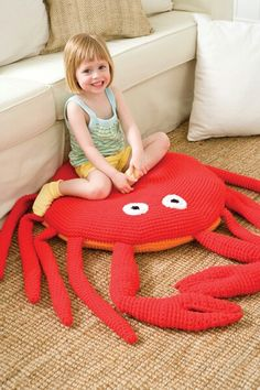 Not necessarily for the shower, but funny nonetheless. Amigurumi Crab Pillow.