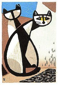 ...Tomoo Inagaki (Japan, 1902-1980) - Two cats