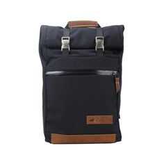 Rugged Material Leather Cordura Rolltop Backpack Black front.jpg