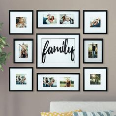 Wall Collage Living Room Couch Photo Arrangement Ideas For 2019 Family Wall Decor, Living Room Decor, Dining Room, Decorating A Large Wall In Living Room, Family Room, Living Walls, Family Pictures On Wall, Collage Pictures, Wall Decor Pictures