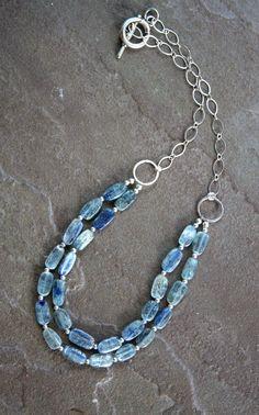 Gemstone necklace Kyanite double strand stone by HollyMackDesigns