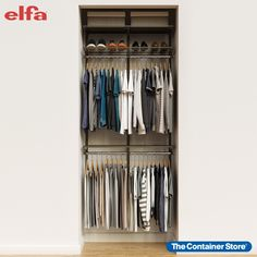 Whether you need storage in a small entryway closet, kid's room or guest closet, our Elfa Classic 3' Closet Starter Kit gives you everything you need to make the most of your space. Incredibly strong and completely adjustable, this basic Elfa Classic closet can be set up in a variety of ways, giving you the flexibility to create the storage you need. Use it to create a closet with space for both long and short hanging clothes, shoes, folded clothes, and more! Elfa Closet, Entryway Closet, Closet Rod, No Closet Solutions, Shoe Shelves, Small Space Organization, Hanging Clothes, Container Store, Starter Kit