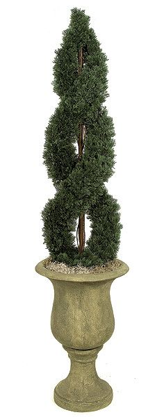 """4FT Artificial Double Spiral Topiary for special events and venues.    Commercial quality plant like features Center metal pole for durability Stabilizing weight base included Choose between 4ft or 6ft tall plants Plant width for 4ft plant is 14"""" and width for 6ft plant is 16"""" Plant Tip Count for 4ft plant is 1,742 and tip count for 6ft plant is 3,390 Decorative pot sold separately Don't see what you need?  Call us for further customized products."""