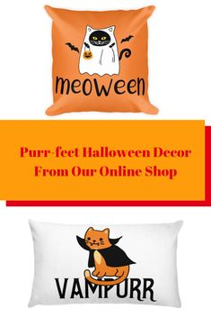 Looking for the purr-fect decor to get your space Halloween ready? Check out these throw pillow finds available in our online shop #halloween #cat decor #halloween cat decor #cat throw pillows