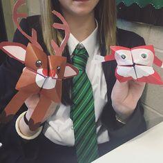 Origami, papiroflexia, juego comecocos navideño