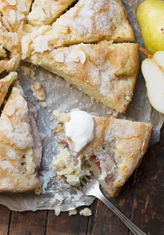 This French Pear Cake is light and filled with pears and with a crispy, crackly sugar topping. Lovely enjoyed warm with a dollop of Crème Fraîche. French Desserts, Just Desserts, Delicious Desserts, Yummy Food, French Recipes, Cupcake Recipes, Baking Recipes, Cupcake Cakes, Dessert Recipes