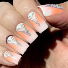 Triangular Creamsicle Crazy Nail Art, Crazy Nails, My Nails, Glitter Manicure, Sinful Colors