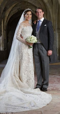 Prince Felix & Claire 2013 - German Claire Lademacher married Prince Félix of Luxembourg wearing a spectacular Elie Saab gown made from Chantilly lace in September 2013 Famous Wedding Dresses, Royal Wedding Gowns, Royal Weddings, Bridal Dresses, Wedding Attire, Wedding Bride, Beautiful Bride, Beautiful Dresses, Robes Elie Saab